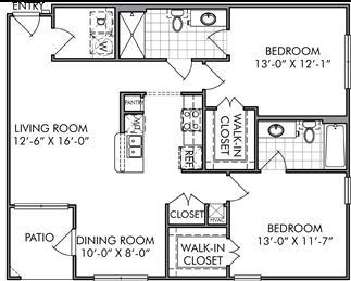 1,101 sq. ft. B1 floor plan
