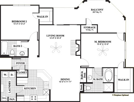 1,278 sq. ft. D8 floor plan