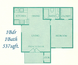 537 sq. ft. Asbury floor plan