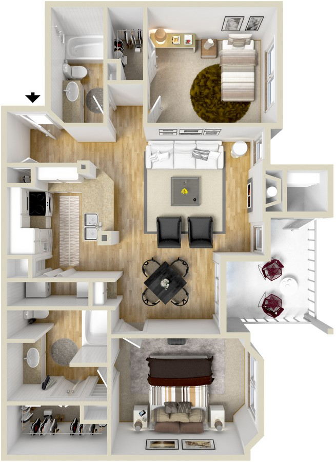 1,020 sq. ft. Toulon floor plan
