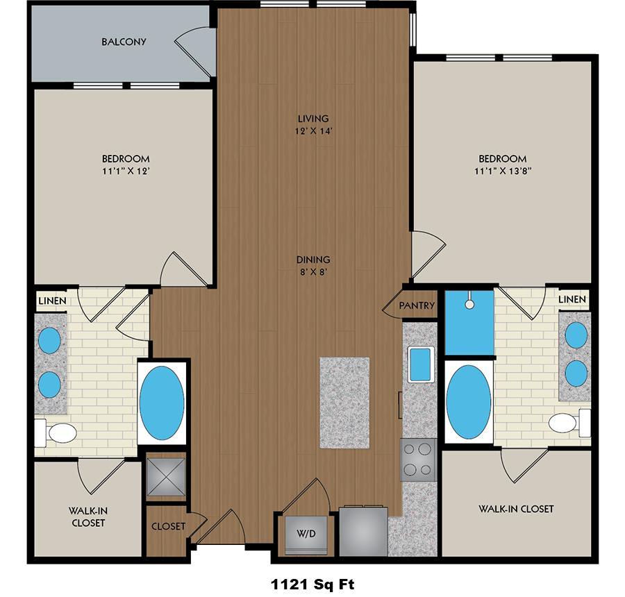 1,121 sq. ft. Kelvin floor plan