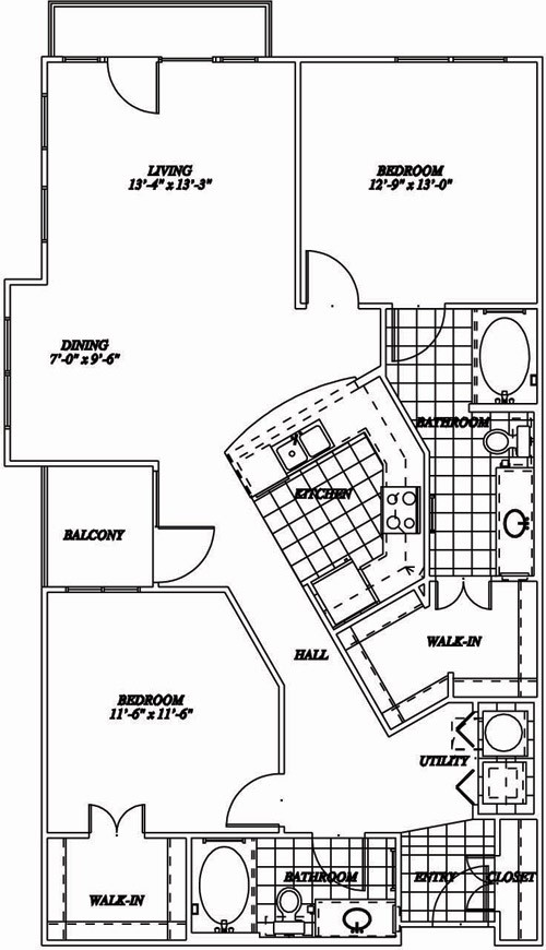 1,270 sq. ft. B4 floor plan
