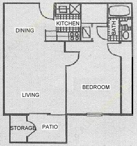 701 sq. ft. A3A floor plan