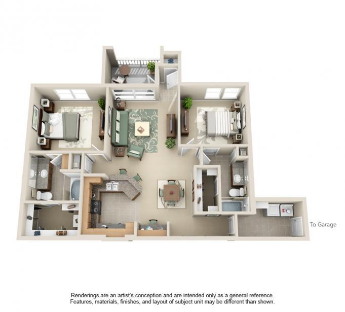 1,147 sq. ft. Guadalupe floor plan