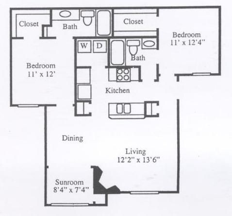 1,046 sq. ft. B2B floor plan