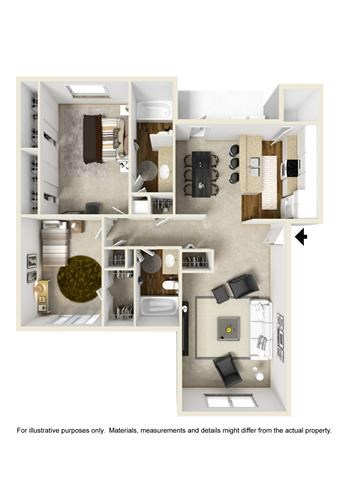 1,157 sq. ft. floor plan