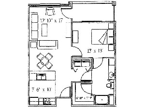 709 sq. ft. Oak/50% floor plan