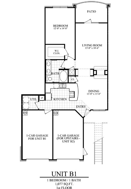 1,077 sq. ft. B1 floor plan
