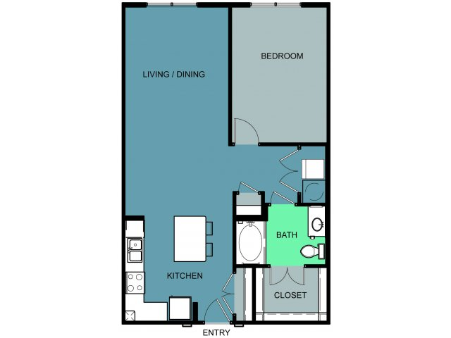 900 sq. ft. Greenbriar floor plan