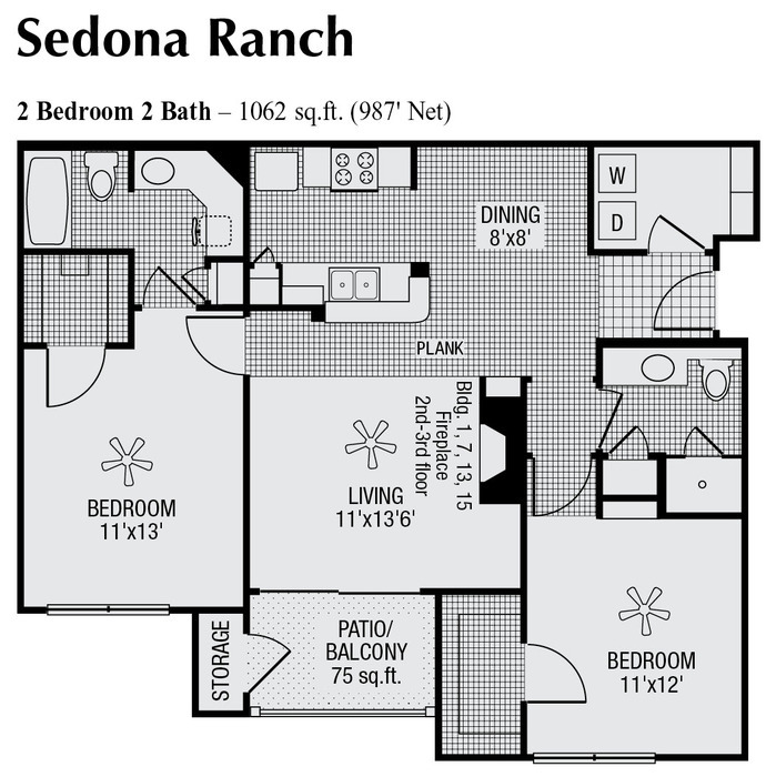 987 sq. ft. floor plan