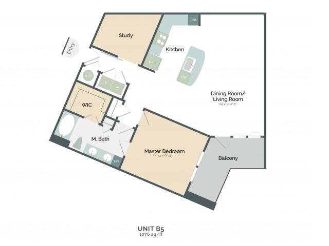 1,076 sq. ft. B5 floor plan