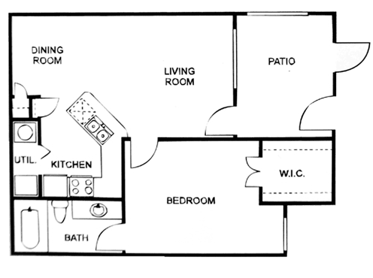 667 sq. ft. A/60% floor plan