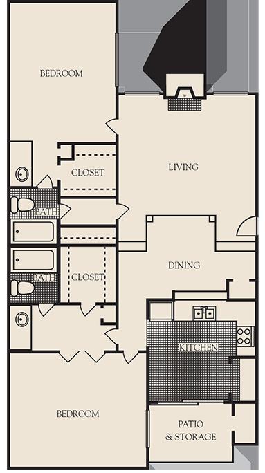 1,250 sq. ft. B3 floor plan