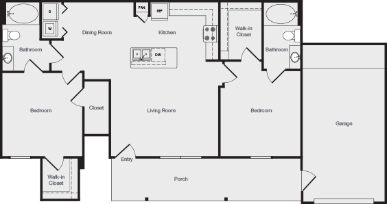 1,124 sq. ft. B2G floor plan