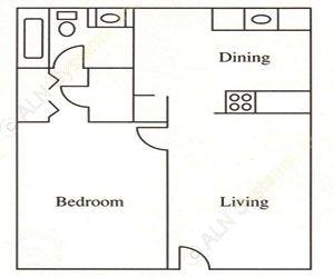 720 sq. ft. A3 floor plan