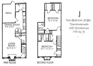 1,176 sq. ft. J floor plan