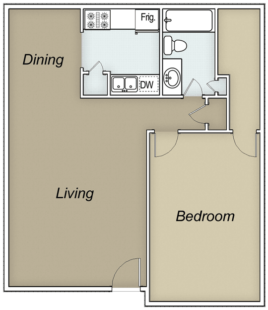 658 sq. ft. floor plan