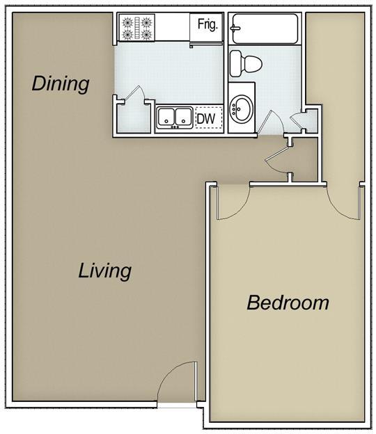 658 sq. ft. floor plan