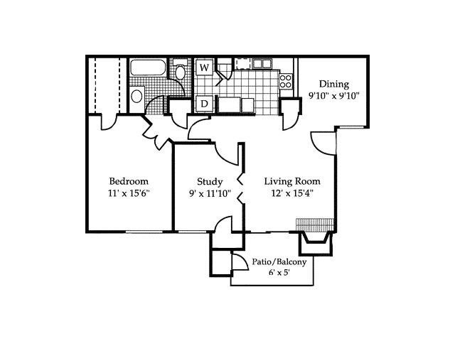 874 sq. ft. A2 floor plan
