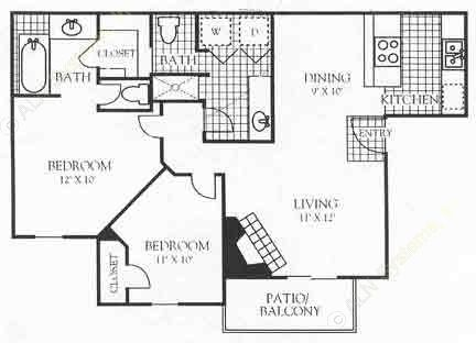 995 sq. ft. 3B1 floor plan