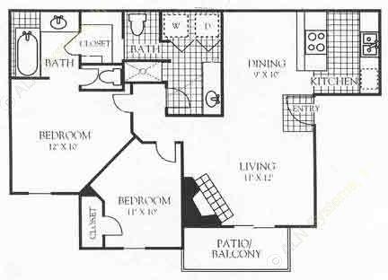 995 sq. ft. 3B1 floor plan