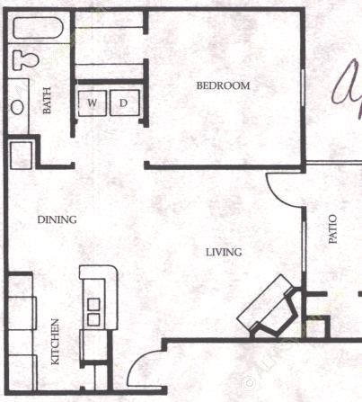 674 sq. ft. Filly floor plan