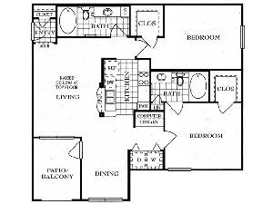 1,088 sq. ft. B floor plan