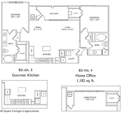 1,182 sq. ft. B3H floor plan