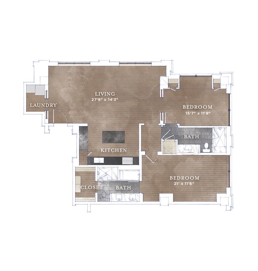 1,432 sq. ft. B1.4 floor plan