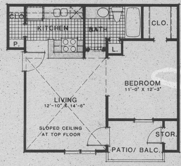 541 sq. ft. A5 floor plan
