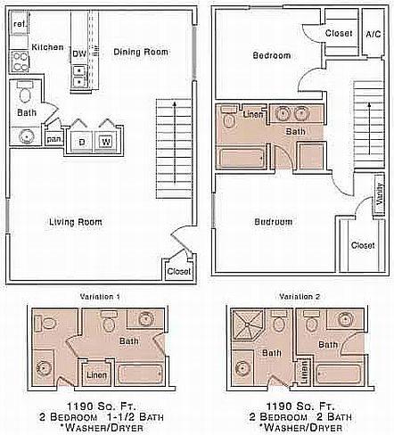 1,190 sq. ft. H floor plan