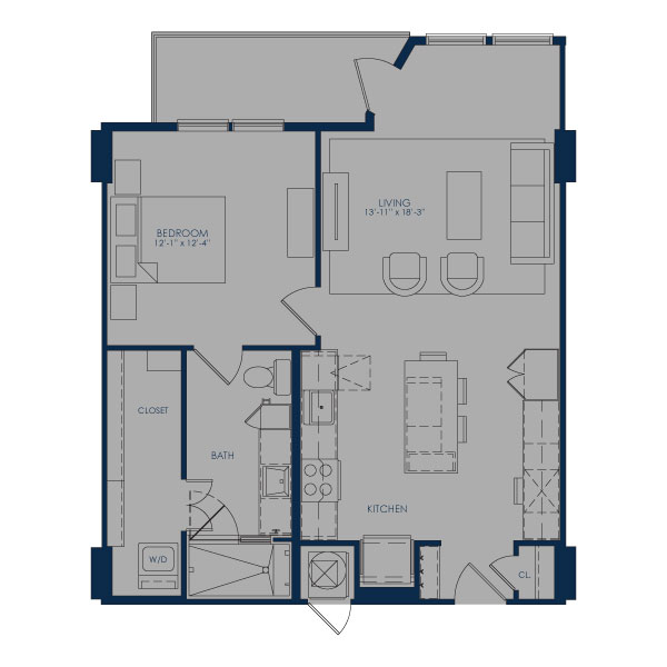 813 sq. ft. A27D floor plan