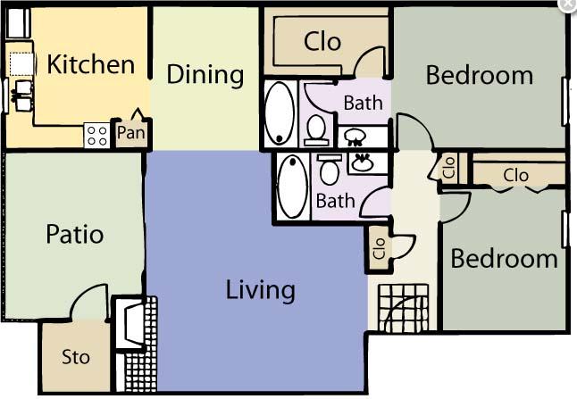 1,029 sq. ft. B2 floor plan