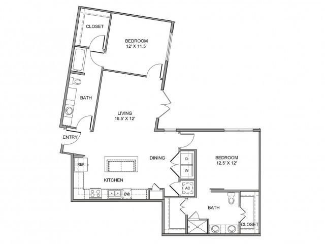 1,219 sq. ft. Griffin floor plan