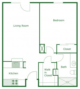 600 sq. ft. Cambridge floor plan