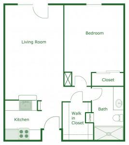 600 sq. ft. Cambridge floor plan