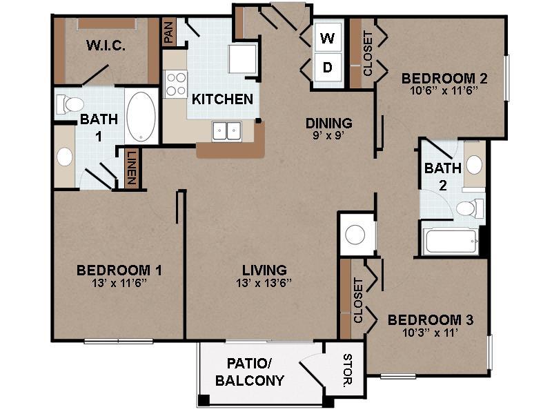 1,193 sq. ft. C1-60% floor plan
