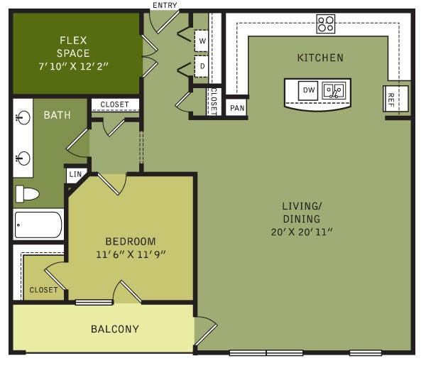 1,206 sq. ft. AF5 (II) floor plan