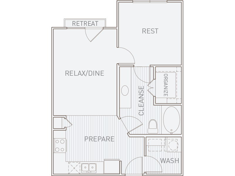 663 sq. ft. A1-J* floor plan