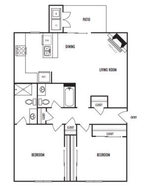 998 sq. ft. B2 floor plan