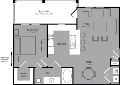 804 sq. ft. Gramercy floor plan