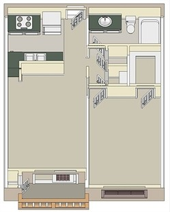 550 sq. ft. One Bedroom floor plan