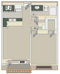 550 sq. ft. One Bedroom floor plan