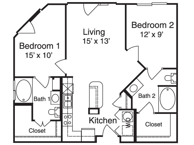 895 sq. ft. B1 floor plan
