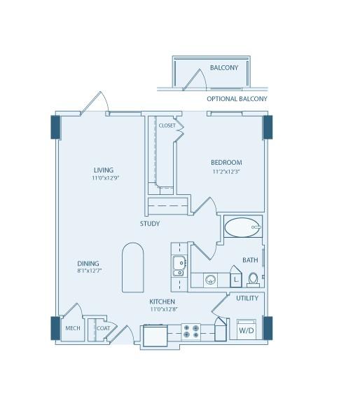 798 sq. ft. A5 floor plan