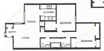 900 sq. ft. 2A floor plan