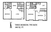 1,460 sq. ft. K floor plan