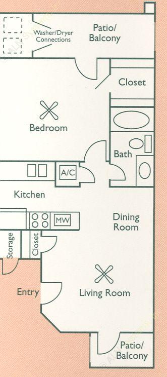 600 sq. ft. A1 floor plan