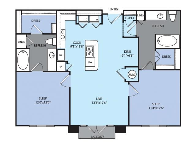 1,022 sq. ft. B2 floor plan