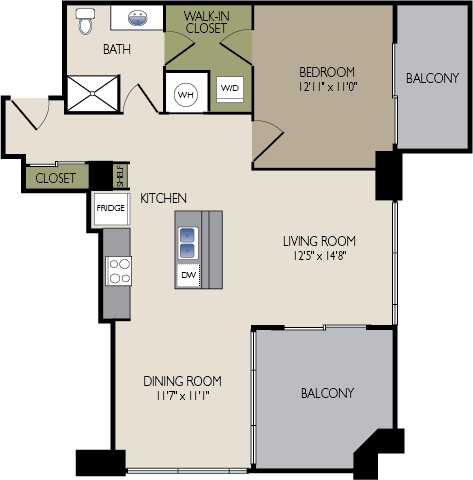 861 sq. ft. F floor plan